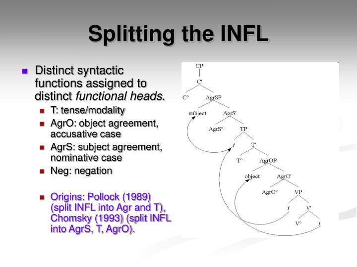 Distinct syntactic functions assigned to distinct
