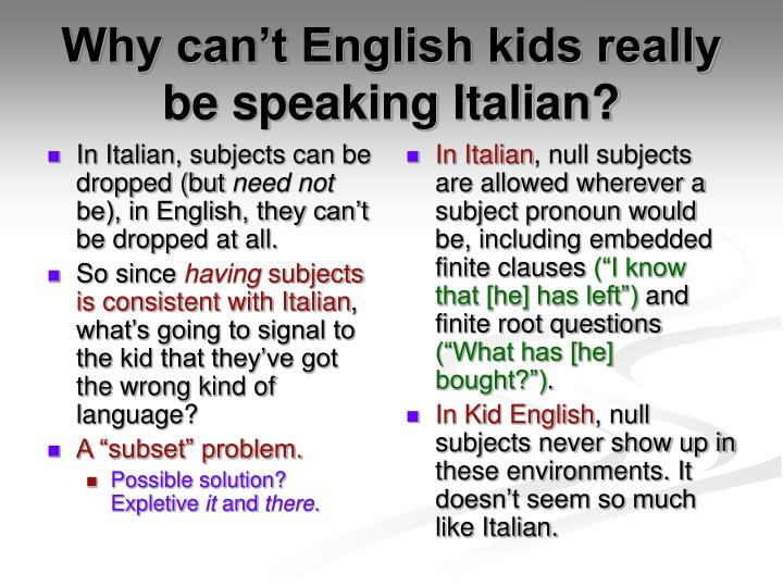 In Italian, subjects can be dropped (but