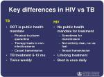 key differences in hiv vs tb