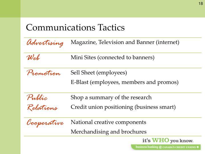 Communications Tactics