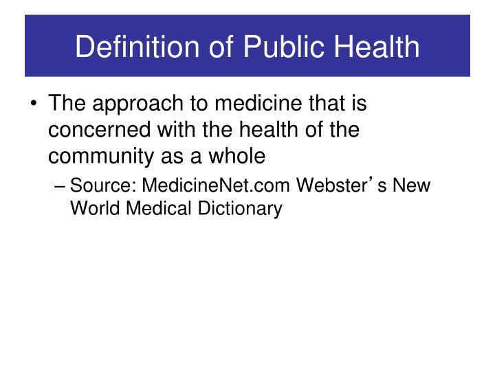 Definition Of Public Health
