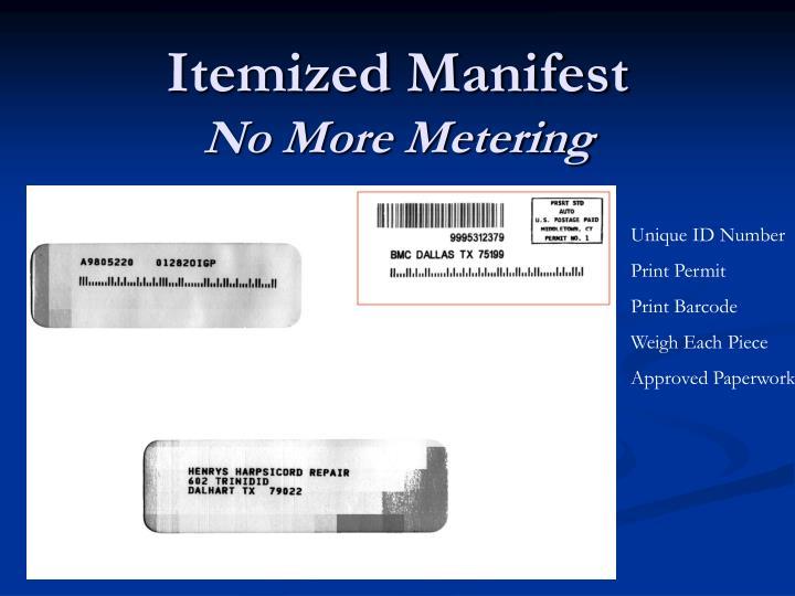 Itemized Manifest