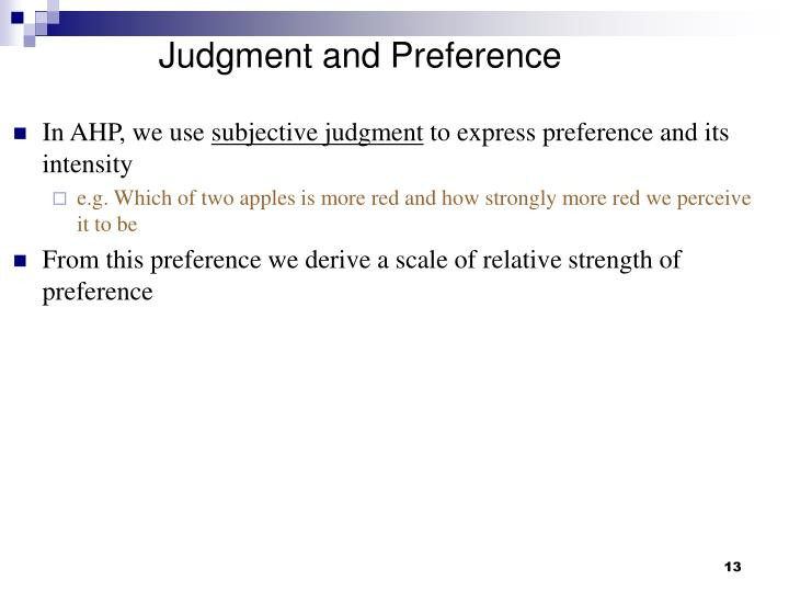 Judgment and Preference
