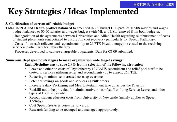 Key Strategies / Ideas Implemented