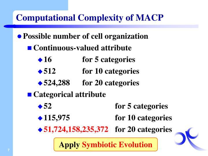 Computational Complexity of MACP