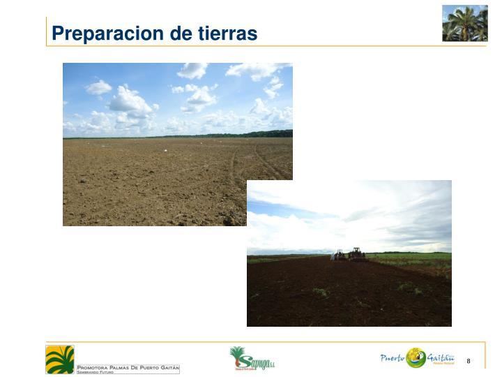 Preparacion de tierras