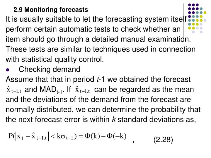 2.9 Monitoring forecasts