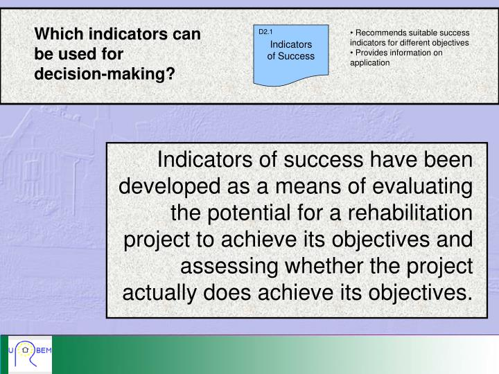Which indicators can be used for