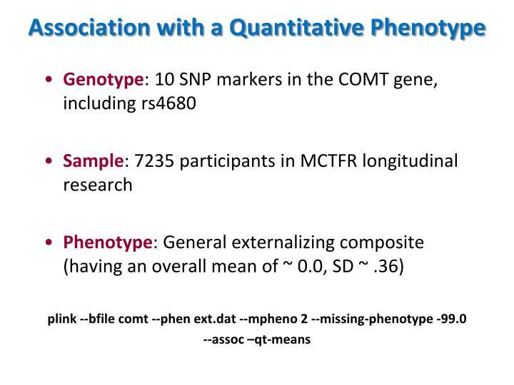 Association with a Quantitative Phenotype