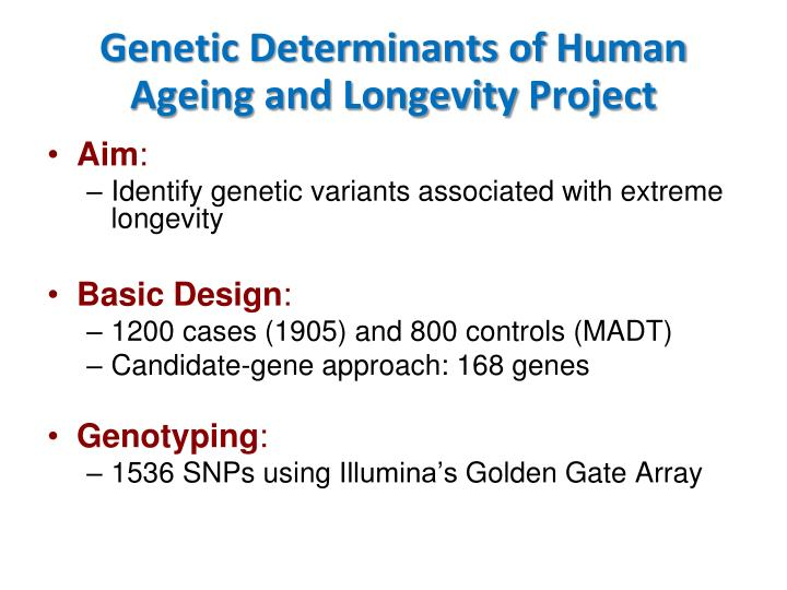Genetic Determinants of Human Ageing and Longevity