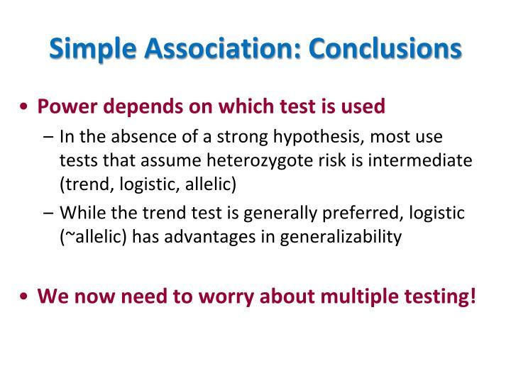 Simple Association: Conclusions