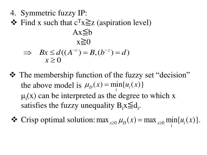 Symmetric fuzzy IP: