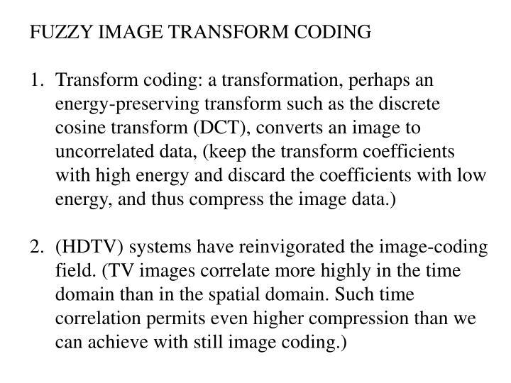 FUZZY IMAGE TRANSFORM CODING