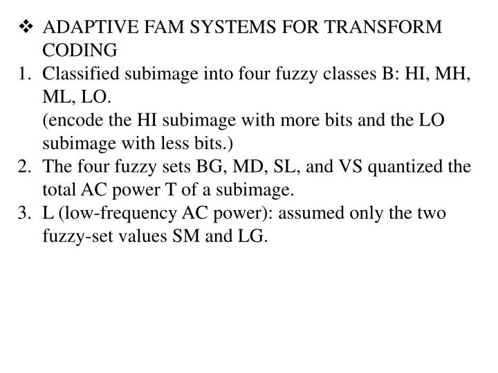 ADAPTIVE FAM SYSTEMS FOR TRANSFORM CODING