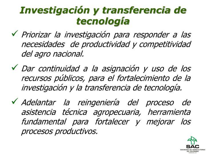 Investigación y transferencia de tecnología