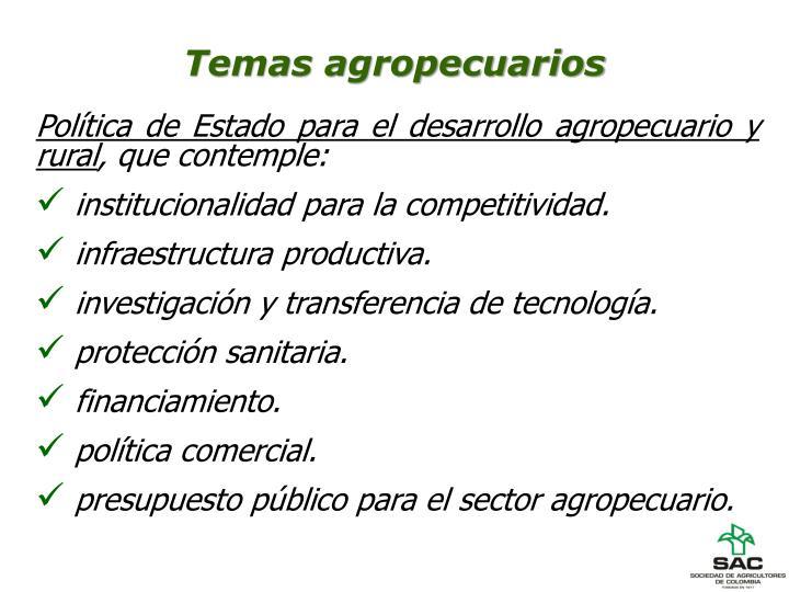Temas agropecuarios