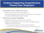 evidence supporting comprehensive primary care employers