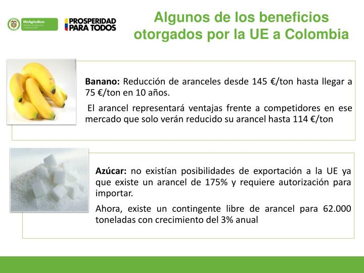 Algunos de los beneficios otorgados por la UE a Colombia