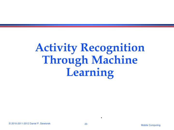 Activity Recognition Through Machine Learning