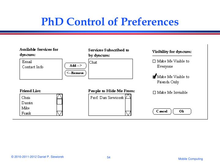 PhD Control of Preferences