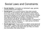 social laws and constraints