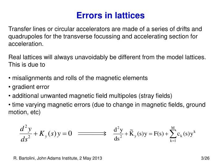 Errors in lattices