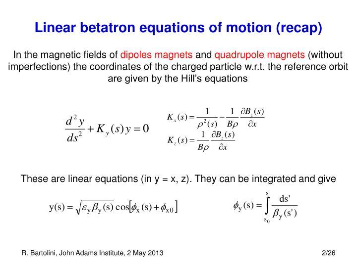 Linear betatron equations of motion (recap)