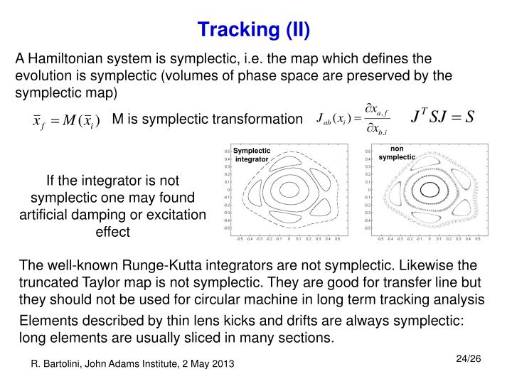 A Hamiltonian system is symplectic, i.e. the map which defines the evolution is symplectic (volumes of phase space are preserved by the symplectic map)