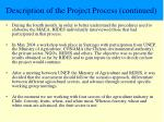 description of the project process continued