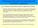 preliminary results of using tools and methods continued2