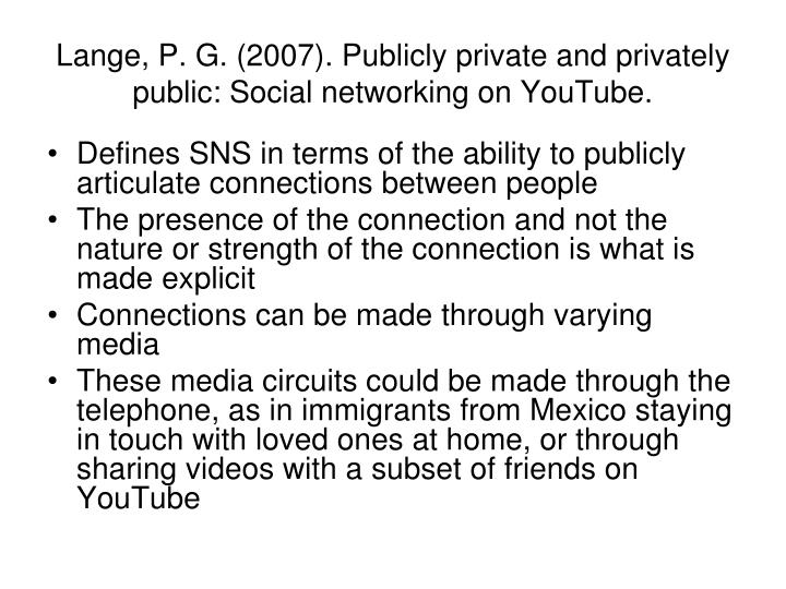 Lange, P. G. (2007). Publicly private and privately public: Social networking on YouTube.