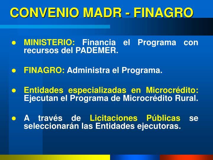 CONVENIO MADR - FINAGRO