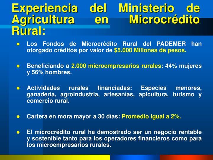 Experiencia del Ministerio de Agricultura en Microcrédito Rural: