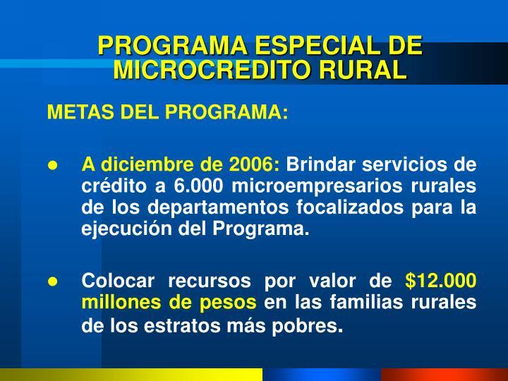 PROGRAMA ESPECIAL DE MICROCREDITO RURAL
