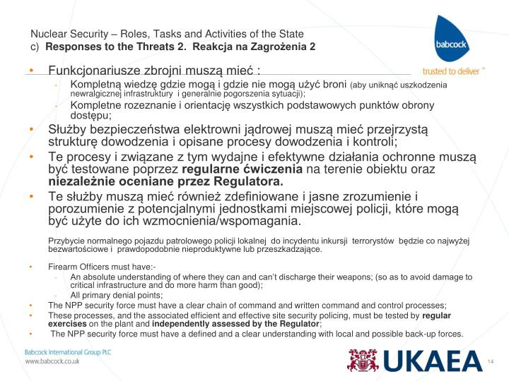 Nuclear Security – Roles, Tasks and Activities of the State