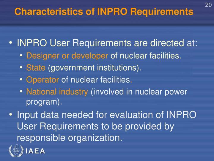 Characteristics of INPRO Requirements