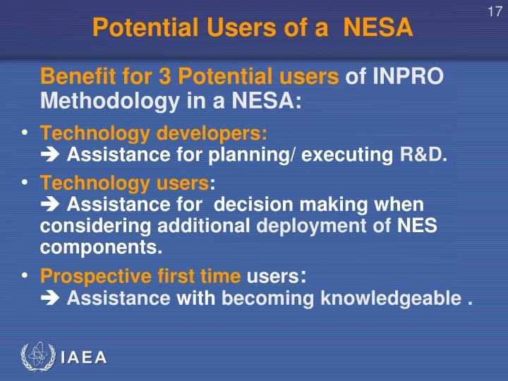 Potential Users of a  NESA