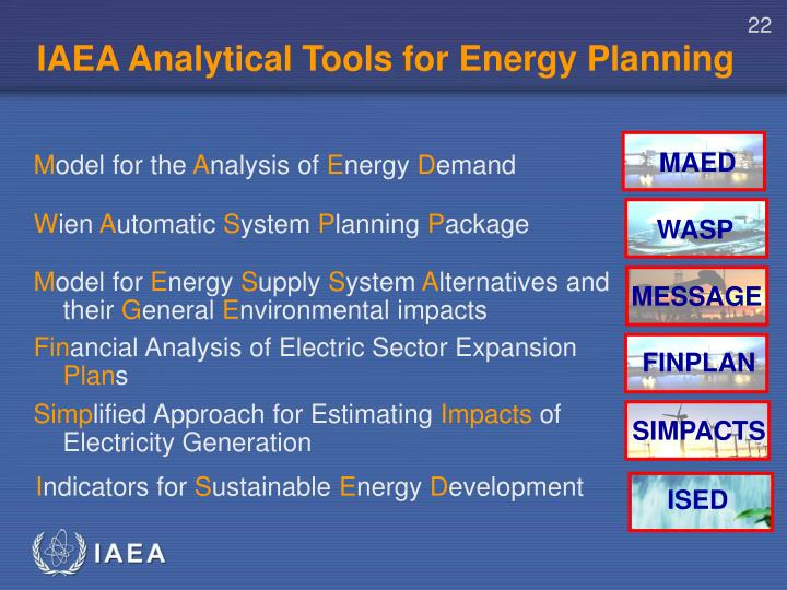 IAEA Analytical Tools for Energy Planning