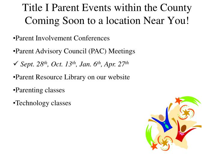 Title I Parent Events within the County