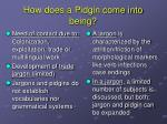 how does a pidgin come into being
