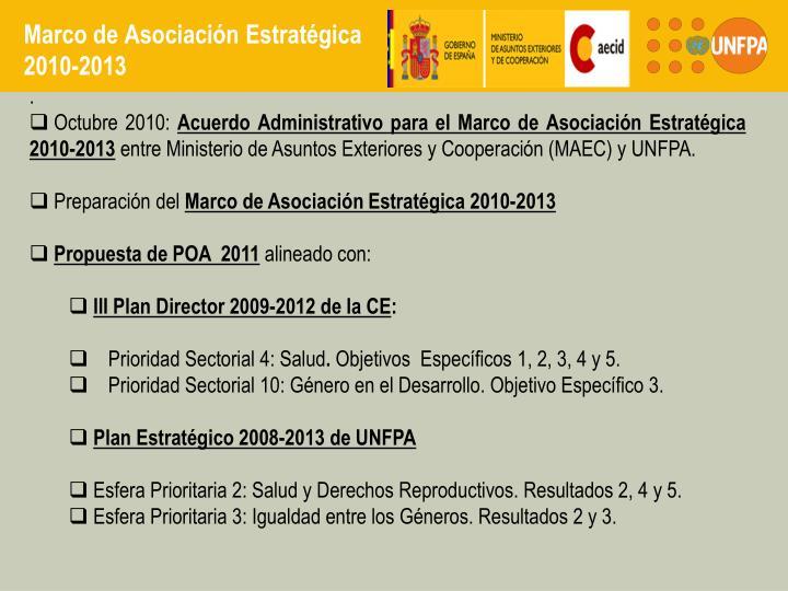 Marco de asociaci n estrat gica 2010 2013