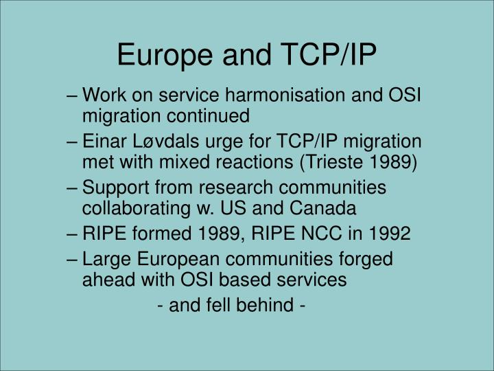 Europe and TCP/IP