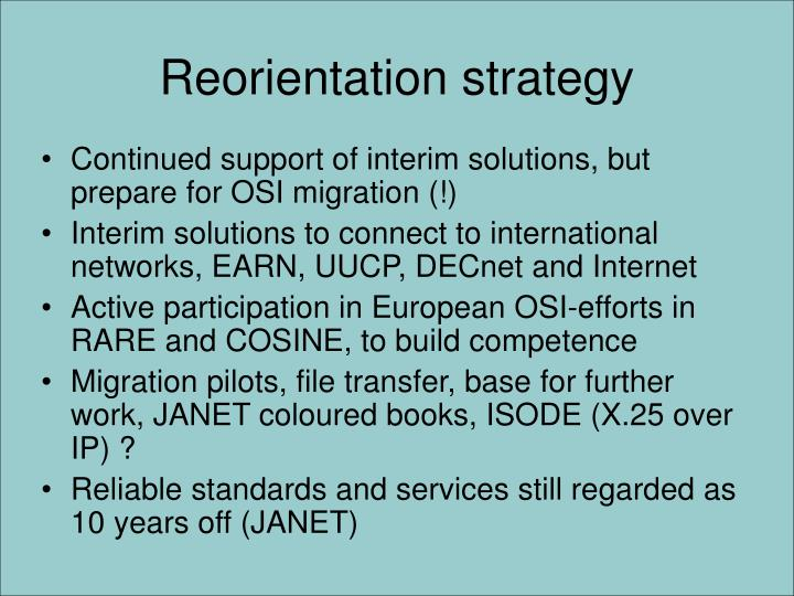 Reorientation strategy