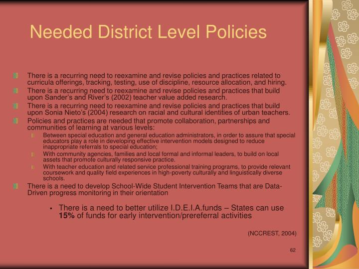 Needed District Level Policies