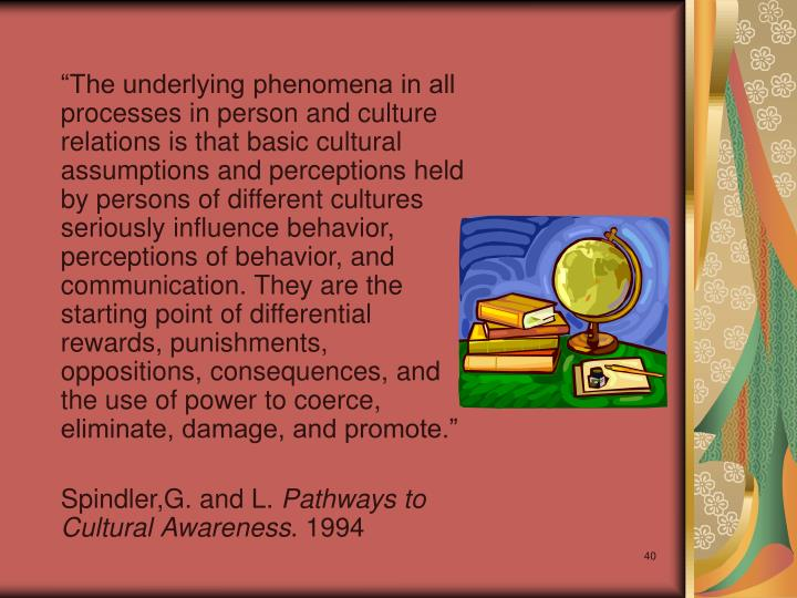"""The underlying phenomena in all processes in person and culture relations is that basic cultural assumptions and perceptions held by persons of different cultures seriously influence behavior, perceptions of behavior, and communication. They are the starting point of differential rewards, punishments, oppositions, consequences, and the use of power to coerce, eliminate, damage, and promote."""
