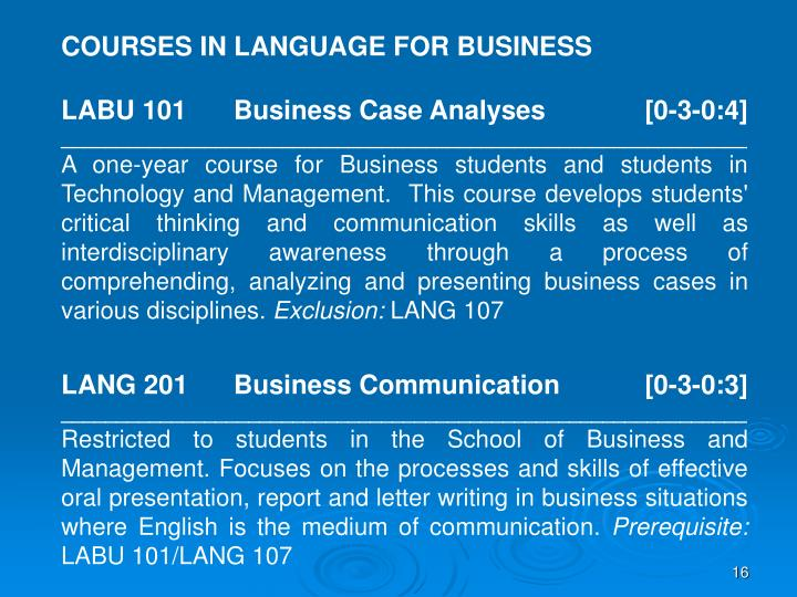 COURSES IN LANGUAGE FOR BUSINESS