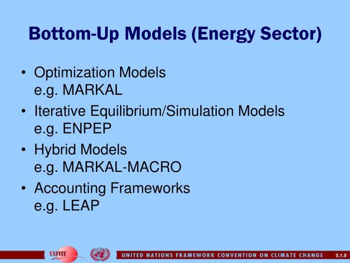 Bottom-Up Models (Energy Sector)