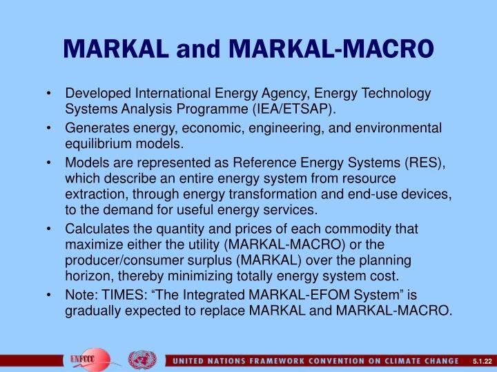 MARKAL and MARKAL-MACRO