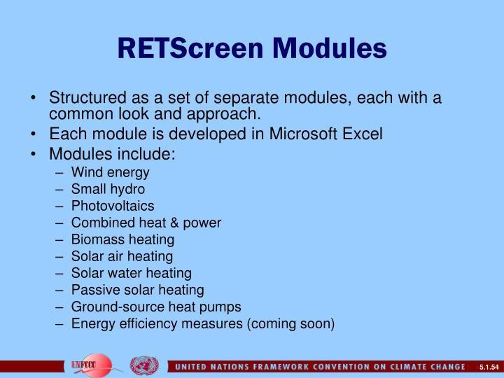 RETScreen Modules