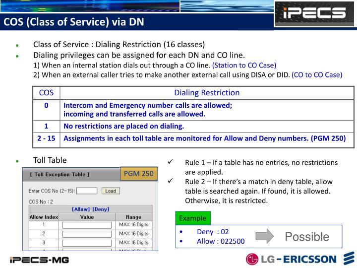 COS (Class of Service) via DN